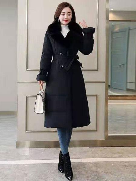 芝麻e柜女装品牌2019秋冬毛绒轻薄羽绒服