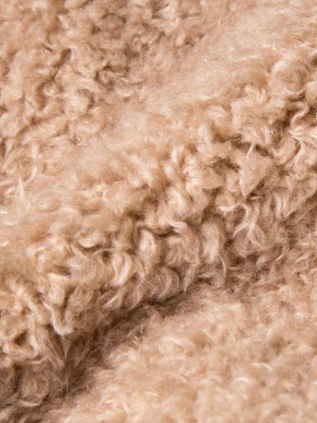 MACINFUR面料品牌2019秋冬棕驼小羊驼复真皮纹