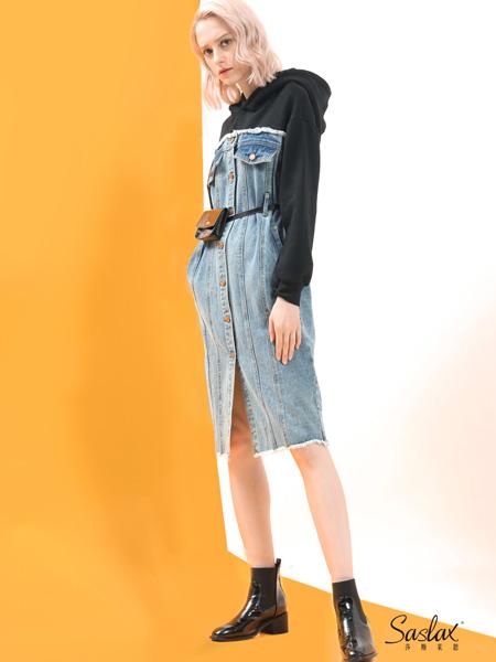 SASLAX莎斯莱思女装品牌2019秋冬拼接中长款