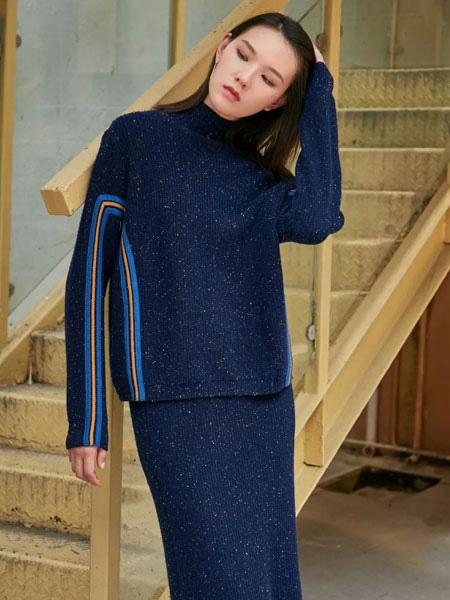 洛瑞琳女装品牌2019秋季韩版气质时尚圆领针织两件套181019301