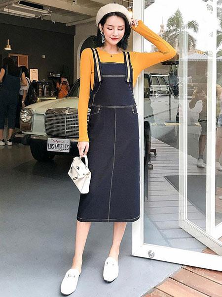 原上草女装品牌2019秋冬休闲牛仔裙