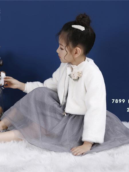 Ceicei熙熙童装品牌2019秋冬长袖连衣裙兔绒拼接打底裙