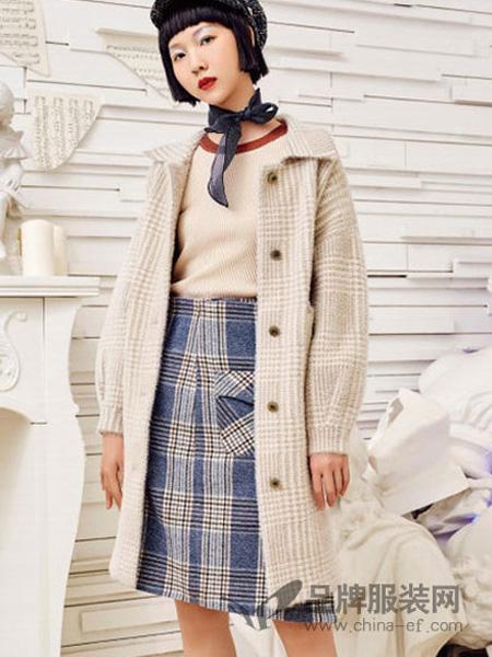 邻家女孩女装品牌2020春夏文艺复古格子毛呢外套