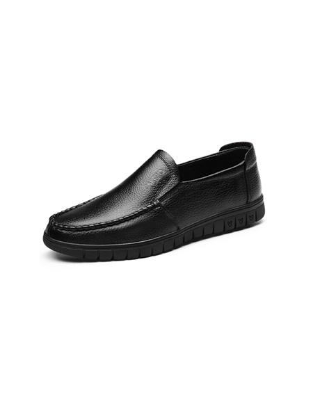 卡帝乐鳄鱼CARTELO鞋帽/领带品牌2019秋冬皮鞋舒适百搭套脚牛皮商务休闲鞋英伦低帮一脚蹬男鞋