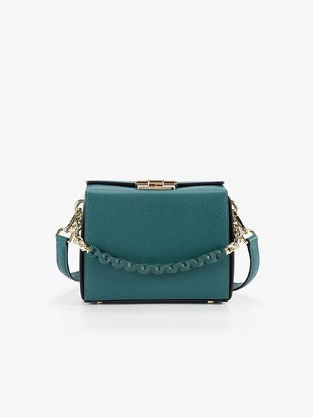 LIVIN MOMENTO(领·慕)箱包品牌2019秋季轻奢女包新款包包女单肩斜挎链条真皮复古小方包 百搭