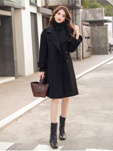 芊伊朵女装品牌2019秋冬时尚保暖毛呢大衣