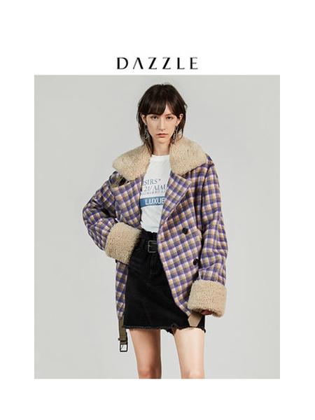DAZZLE地素女装品牌2019秋冬新款羊羔毛喇叭袖外套