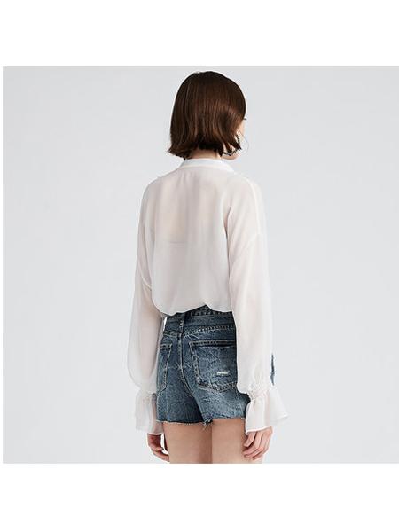DAZZLE地素女装品牌2019秋冬时尚透视衬衣女