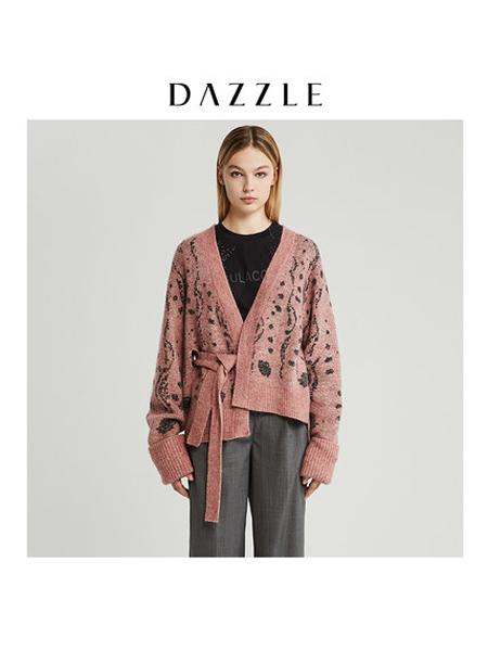 DAZZLE地素女装品牌2019秋冬开衫针织外套女
