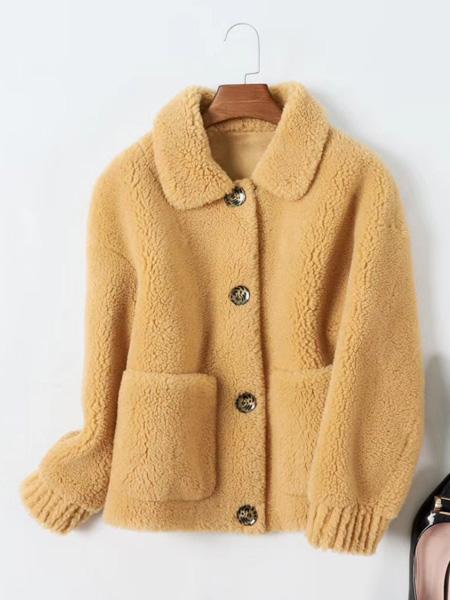 芝麻E柜女装品牌2019秋冬颗粒绒羊羔毛大衣女
