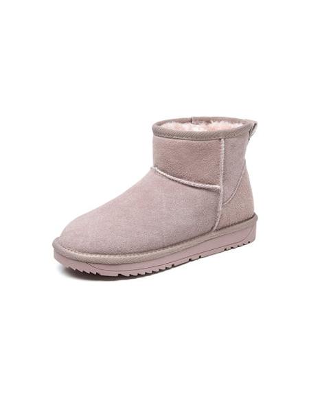 卓诗尼鞋帽/领带品牌2019秋冬新款皮毛一体加绒保暖棉鞋真皮百搭防水短筒靴