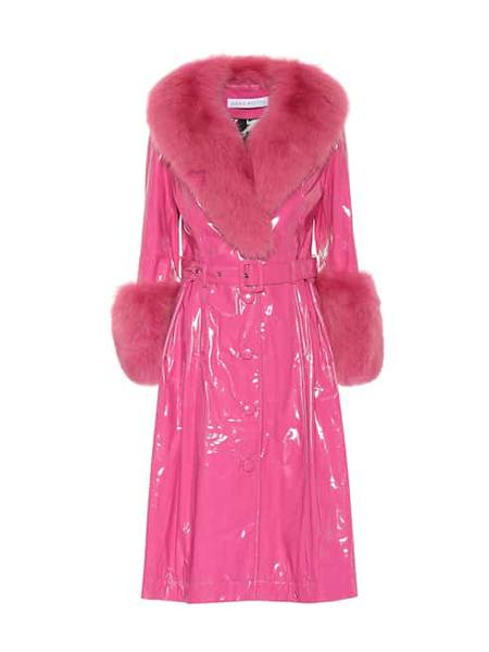 Saks Potts国际品牌品牌粉色毛绒大衣