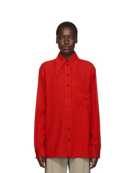 Kwaidan Editions国际品牌品牌2019秋冬复古红宽松衬衣