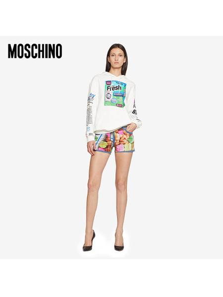 Boutique Moschino国际品牌品牌女士炫彩撞色印花修身短裤