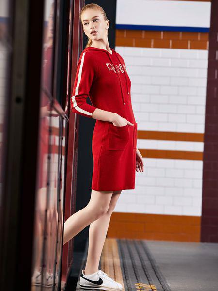 迪图DITTO秋冬装红色长袖连身裙