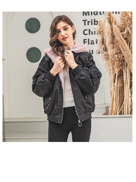潮流前线2019年冬装新品女潮流时尚休闲撞色连帽宽松短款防风夹克