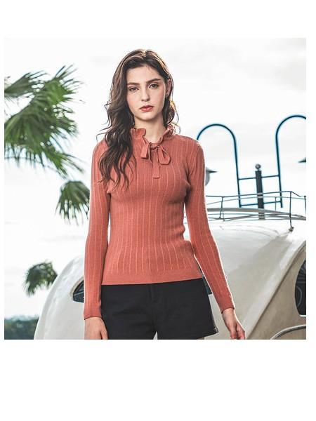潮流前线女针织衫2019年冬季新品时尚纯色简约圆领修身针织衫女潮