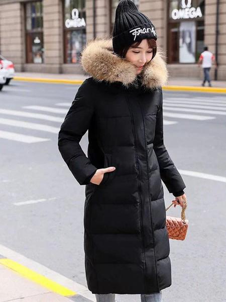 佳美优品女装品牌2019秋冬黑色羽绒服