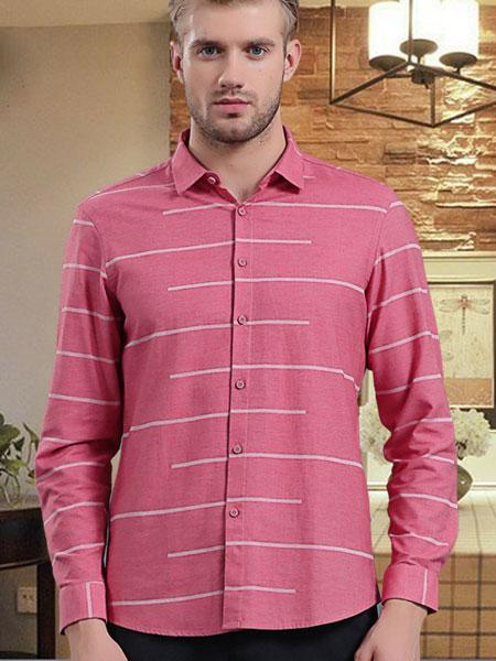 皇卡男装2019新款条纹玫红色长牛 商务成熟