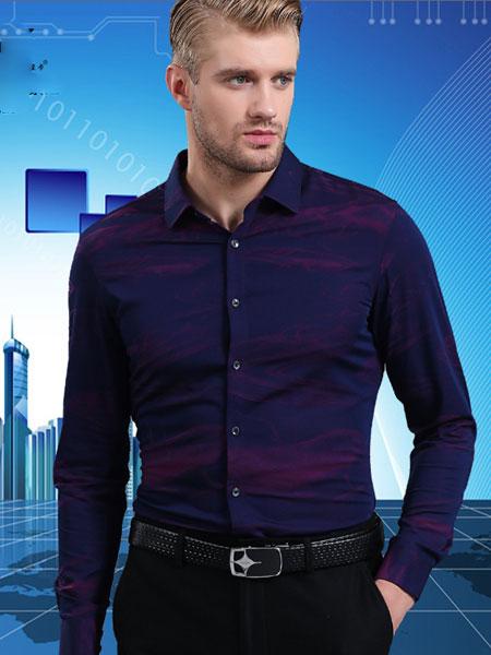 皇卡男装2019新款黑色西装长袖衬衫 商务成熟