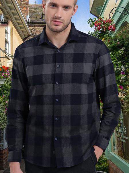 皇卡男装2019新款黑色格子西装长袖衬衫 商务成熟