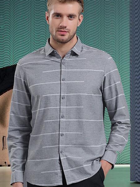 皇卡男装2019冬款灰色条纹 西装长袖衬衫商务成熟