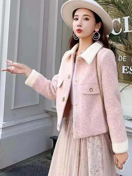 搜谷女装品牌2019秋冬粉色外套