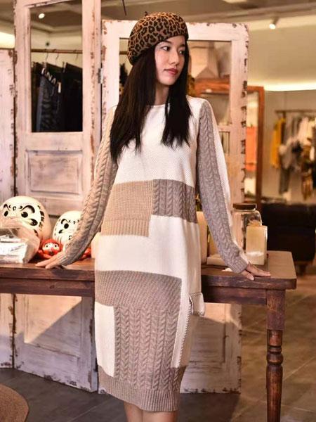 AttinaLife阿缇娜女装品牌2019秋冬针织拼接色连衣裙