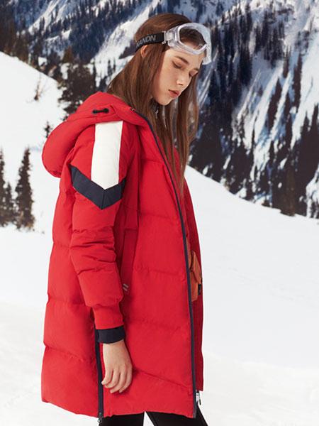 波司登2019冬款红色修身中长款羽绒服 保暖百搭