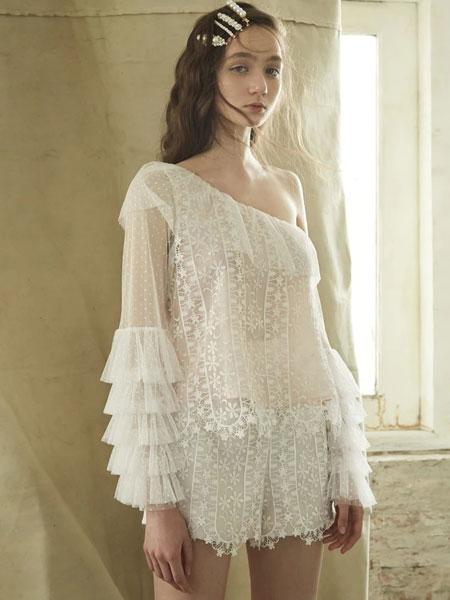 Thea By Thara国际品牌品牌2020春夏新款露肩蕾丝半身裙