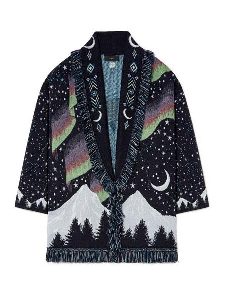 Alanui国际品牌品牌2019秋冬新款纯色长款中袖上衣