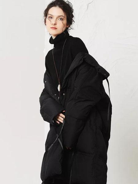 闲然女装品牌2019秋冬长款纯色羽绒服