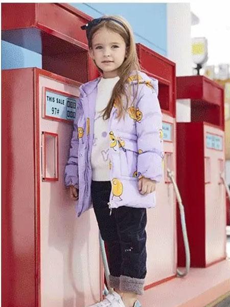 杰米熊童装品牌2019秋冬紫色印卡通图案短款羽绒服