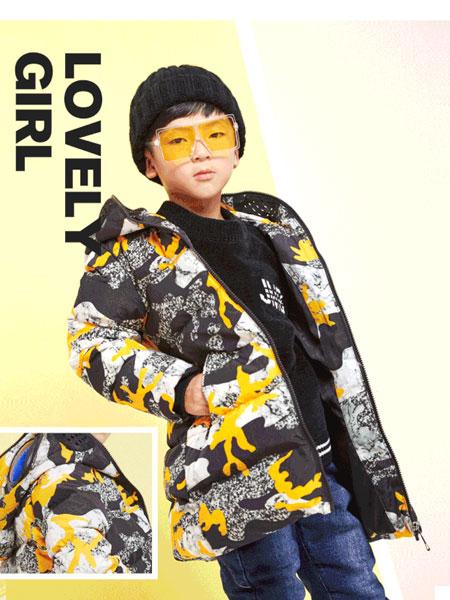 杰米熊童装品牌2019秋冬迷彩中长款羽绒服