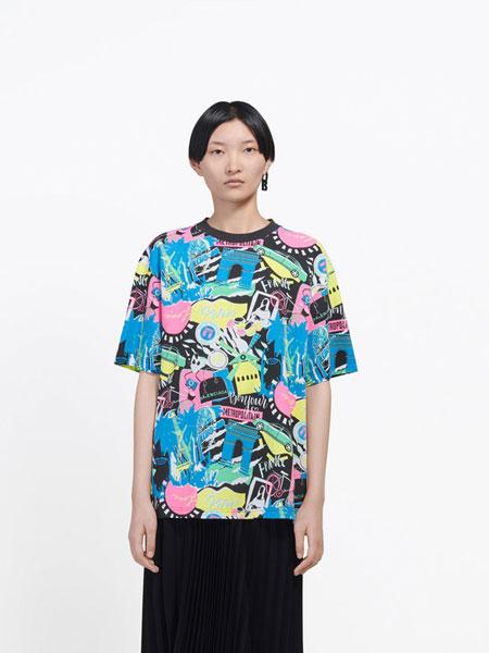 Balenciaga巴黎世家国际品牌品牌2020春夏新款印花上衣