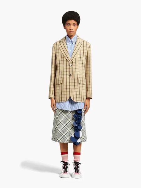 普拉达国际品牌品牌2019秋冬华达呢格纹外套