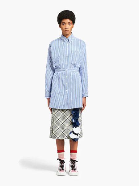 普拉达国际品牌品牌2019秋冬府绸衬衫