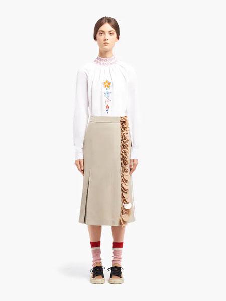 普拉达国际品牌品牌2019秋冬华达呢半身裙