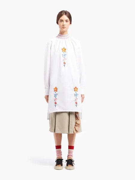 普拉达国际品牌品牌2019秋冬埃及棉府绸连衣裙
