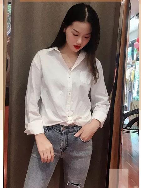 左韩女装品牌2019秋冬新款白色长袖衬衫 百搭
