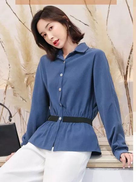 左韩女装品牌2019秋冬新款蓝色长袖上衣