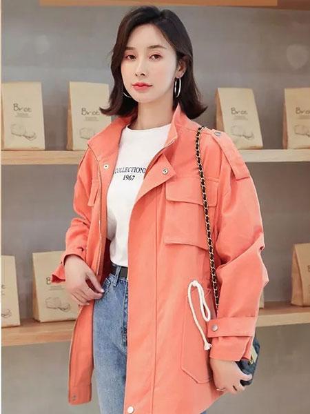 左韩女装品牌2019秋冬新款浅粉长款外套
