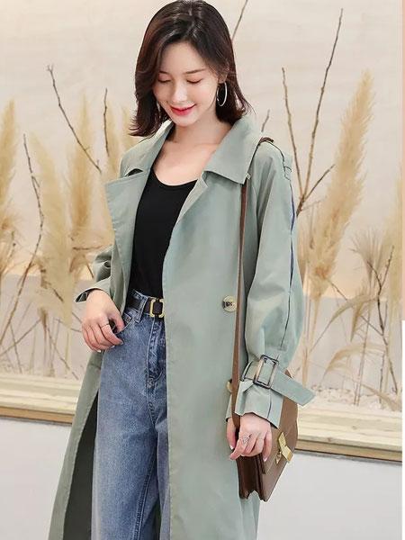 左韩女装品牌2019秋冬新款纯色长袖长款大衣