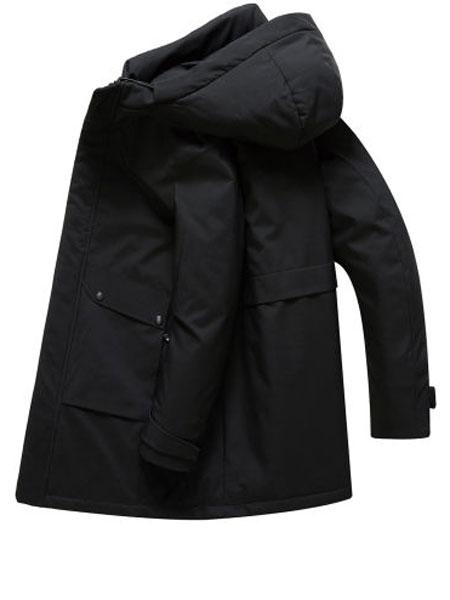 阿仕顿男装休闲简约时尚连帽潮中长款鹅绒服冬季保暖外套男羽绒服