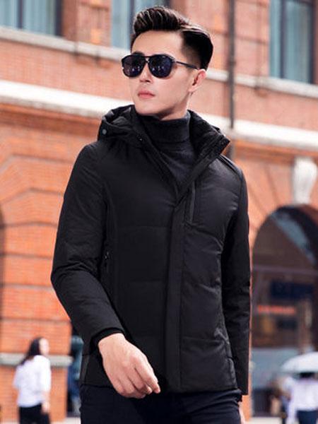 阿仕顿男装时尚简约连帽防寒羽绒服冬季帅气休闲男外套