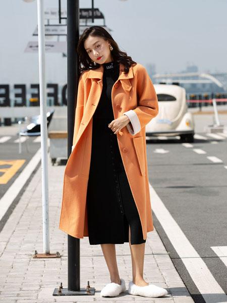 B P(Bella Party)女装品牌2019秋冬新款橙色大衣 气质清新百搭