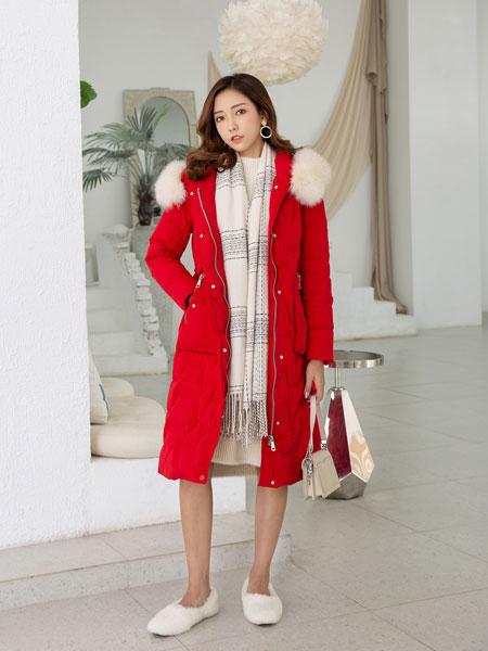 B P(Bella Party)女装品牌2019秋冬新款大毛领长款红色羽绒外套