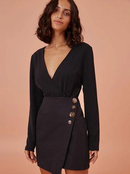 FINDERS KEEPERS国际品牌2020春夏新款长袖领无袖全身裙 显气质百搭