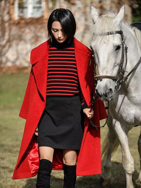曼德诗品牌女装女装品牌2019秋冬新款红色大衣 显气质百搭