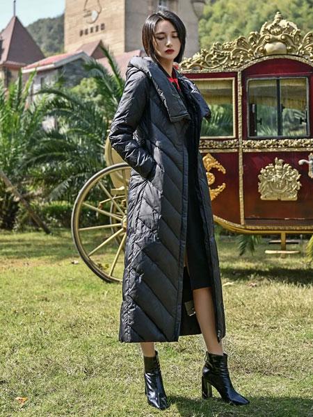 曼德诗品牌女装女装品牌2019秋冬新款黑色羽绒大衣 百搭显腿